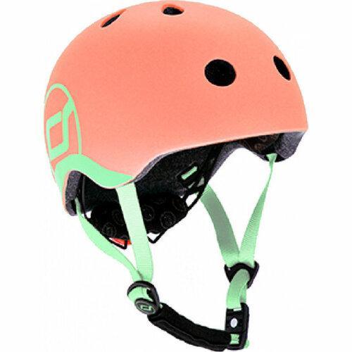 Шлем защитный детский Scoot and Ride, персик, с фонариком, 45-51см (XXS/XS)