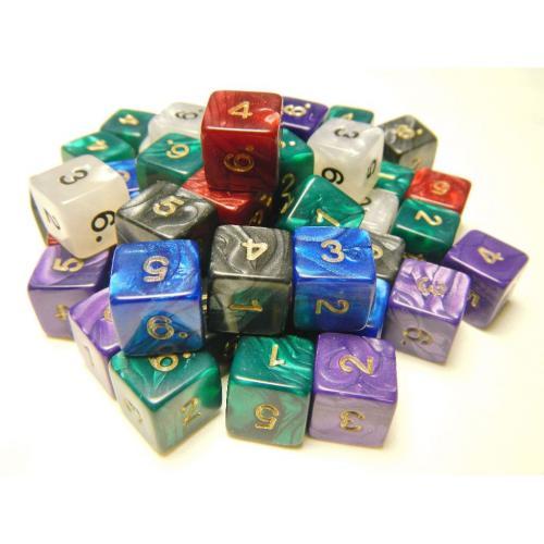 Кубик D6 с цифрами перламутровый/мраморный (цвет в ассортименте)