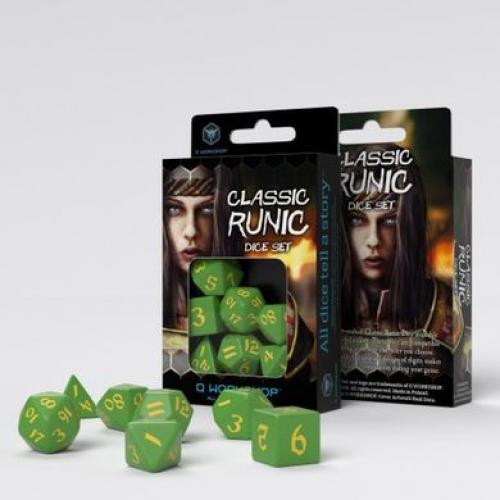 Набор кубиков Classic Runic Green & yellow Dice Set
