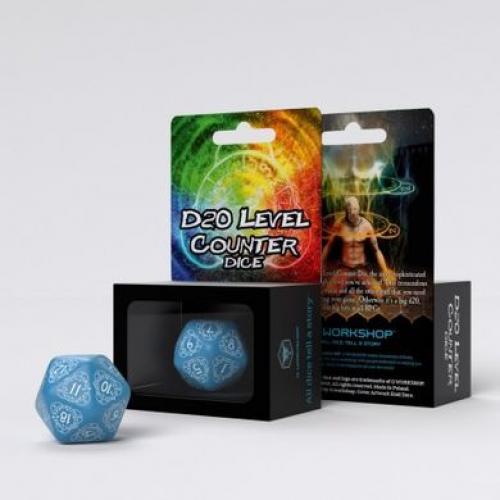 Кубик D20 Level Counter Blue & white Die