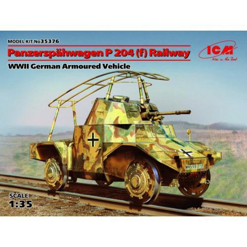 Железнодорожный германский бронеавтомобиль Panzerspahwagen P 204 (f), II МВ (ICM 35376)