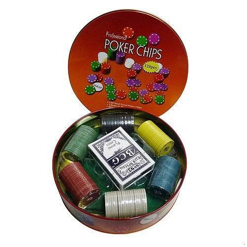 Покерный набор на 120 фишек в круглой коробке (арт. ZR6617)
