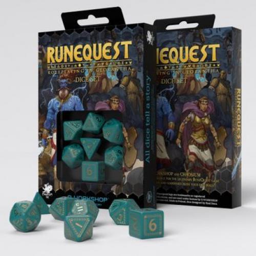 Набор кубиков RuneQuest Turquoise & gold Dice Set