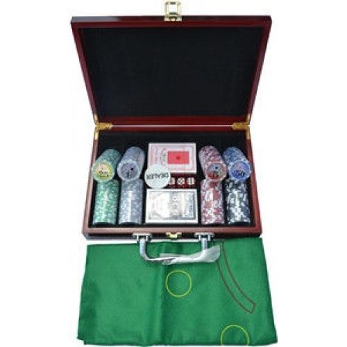 Покерный набор в деревянном кейсе на 200 фишек, номинал 1-50, 11,5гр. (арт SP11069)