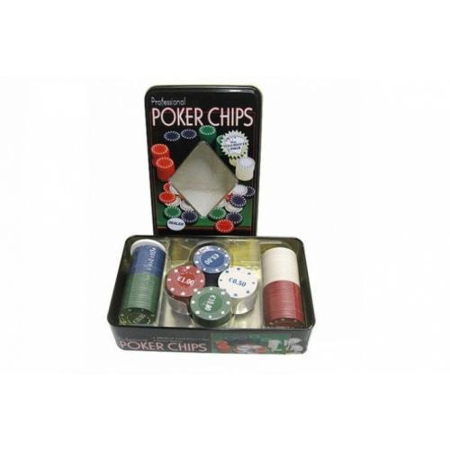 Покерные фишки в оловянной коробке - 100 шт, номинал 1-25, 4гр. (арт. TC11100)