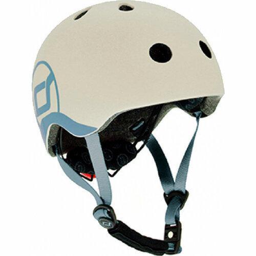 Шлем защитный детский Scoot and Ride, светло-серый, с фонариком, 45-51см (XXS/XS)