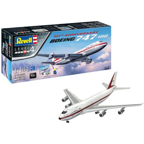 Сборная модель-копия Revell Самолет Боинг-747-100 50 лет уровень 4 масштаб 1:144