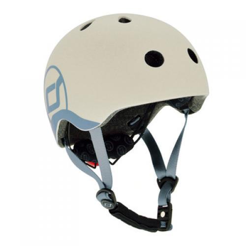 Шлем защитный детский Scoot and Ride, светло-серый, с фонариком, 51-55см (S/M)