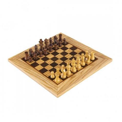 SW43B40H шахматы Manopoulos Olive Burl Chessboard 40cm with Staunton Chessmen