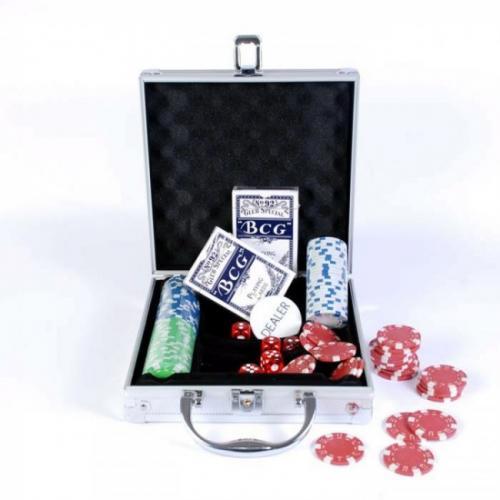 Покерный набор в алюминиевом кейсе 100 фишек, без номинала, 11,5гр.