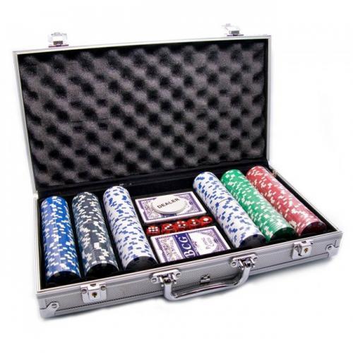 Покерный набор в алюминиевом кейсе на 300 фишек, без номинала, 11,5гр.