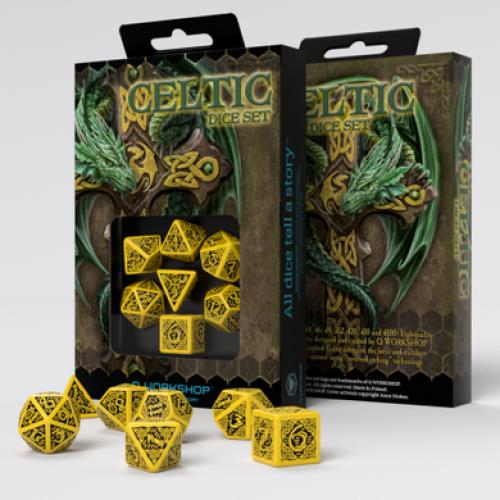 Набор кубиков Celtic 3D Revised Yellow & black Dice Set