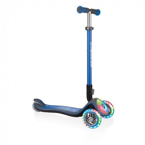 Самокат GLOBBER серии ELITE синий, колеса и панель с подсветкой, до 50кг, 3+, 3 колеса