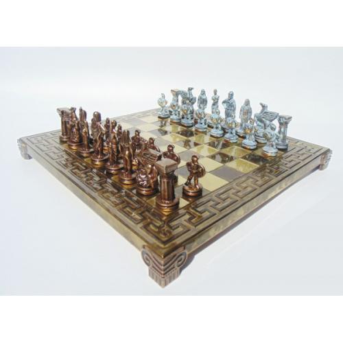 Шахматы Спартанский воин, латунь, в деревянном футляре, коричневые, 28х28см (S16BMBRO)