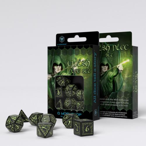 Набор кубиков Elvish Black & glow-in-the-dark Dice Set