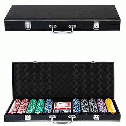 Набор для покера на 500 фишек в кожаном кейсе без номинала