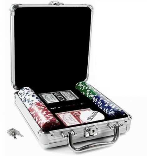 Покерный набор в алюминиевом кейсе 100 фишек, номинал 1-50, 11,5гр. (арт CG11100)