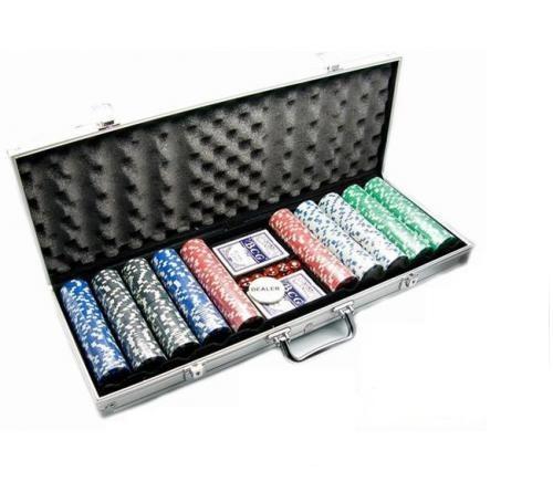 Покерный набор в алюминиевом кейсе на 500 фишек, номинал 10-500, 11,5гр. (арт CG11500)
