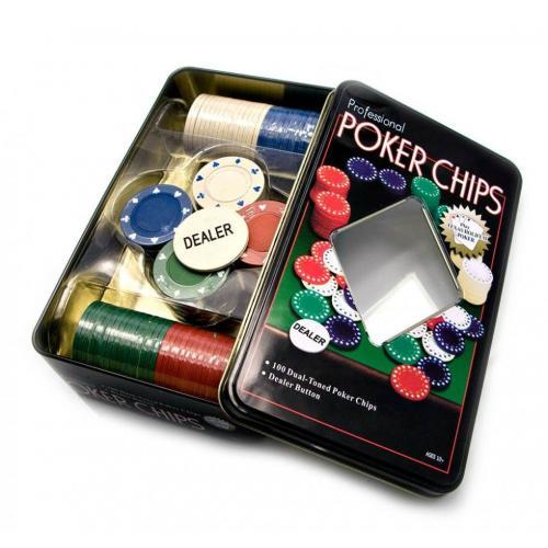 Покерные фишки в оловянной коробке - 100 шт, без номинала, 4гр. (арт. TC04100)