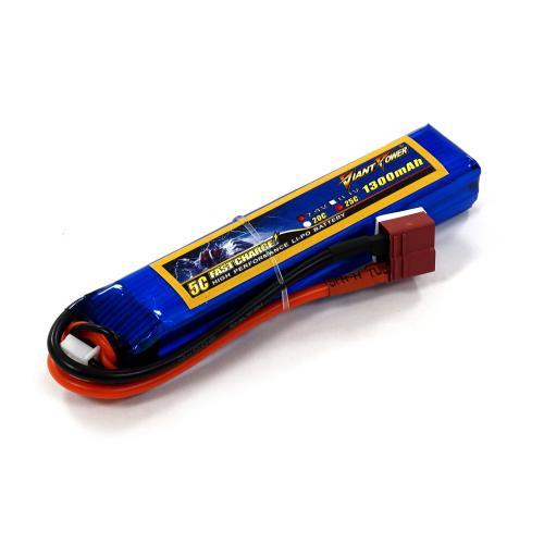 Аккумулятор для страйкбола Giant Power Li-Pol 7.4V 2S 1300mAh 25C 16х20х103мм T-Plug