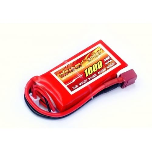 Аккумулятор Dinogy Li-Pol 1000mAh 7.4V 2S 30C 14x35x68мм T-Plug