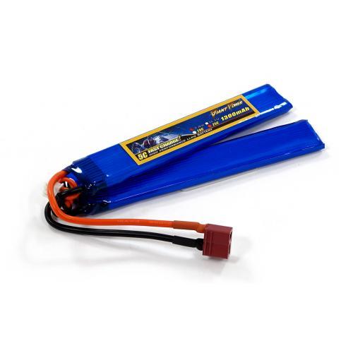 Аккумулятор для страйкбола Giant Power Li-Pol 7.4V 2S 1300mAh 25C 2 лепестка 6.5х21х130мм T-Plug