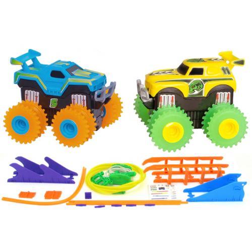 Машинки на бат. Trix Trux набор 2 машинки с трассой (синий+желтый)