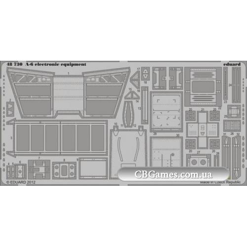 Фототравление 1/48 А-6 электронное оборудование, рекомендовано для KIN (EDU-48730) Масштаб:  1:48