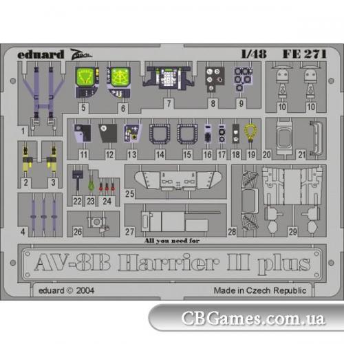 Фототравление 1/48 AV-8B Harrier II Plus (Hasegawa) (EDU-FE271) Масштаб:  1:72
