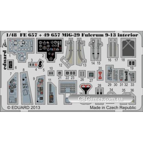 Фототравление 1/48 МиГ-29 Fulcrum 9-13 интерьер самоклеющийся (рекомендовано для GWH) (EDU-49657) Масштаб:  1:48