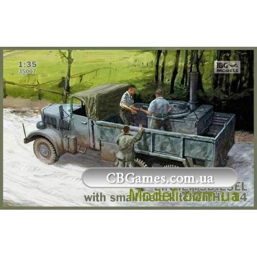 Фронтовой грузовик Einheitsdiesel с небольшой полевой кухней Hf.14 (IBG35007) Масштаб:  1:35