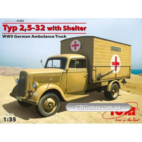 ICM35402  Typ 2,5-32 with shelter, WWII German ambulance