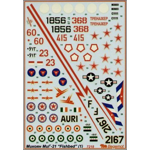 MiG-21 decal (part 1) (BD72018) Масштаб:  1:72