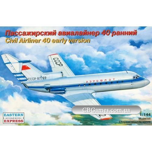 Пассажирский авиалайнер Як-40 (ранняя версия) (EE14492) Масштаб:  1:144