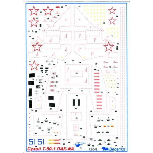 Сухой T-50 ПАК-ФА (BD72042) Масштаб:  1:72