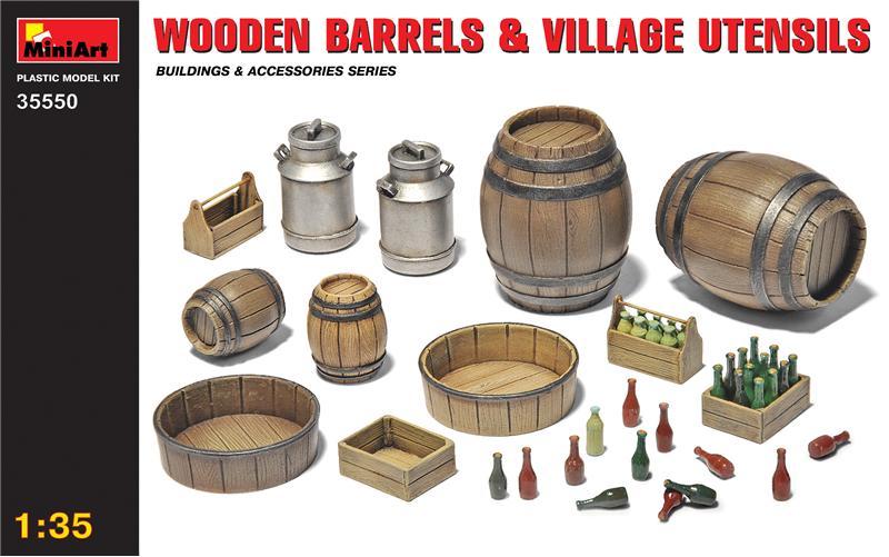 MA35550 Wooden barrels & village utensils